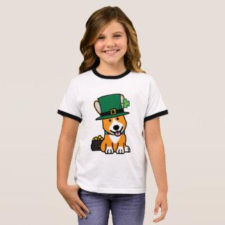 St. Patrick's Day Corgi Leprechaun Dog Puppy Doggy Ringer T-Shirt