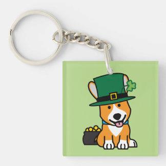 St. Patrick's Day Corgi Leprechaun Dog Puppy Doggy Single-Sided Square Acrylic Key Ring