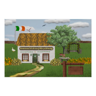 St. Patrick's Day Cottage Poster