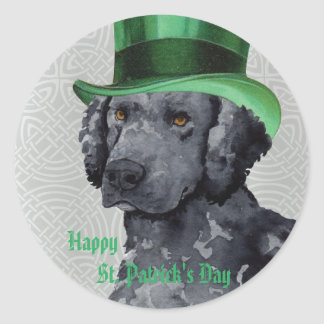 St. Patrick's Day Curly-Coated Retriever Round Sticker
