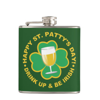St. Patrick's Day custom name flask