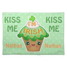 St. Patricks Day Cute Irish Cupcake Cloth Placemat