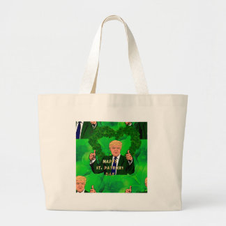 st patricks day donald trump large tote bag