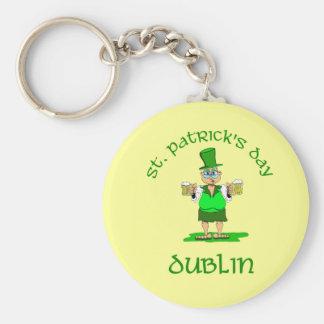 St Patricks Day ~ Dublin Basic Round Button Key Ring