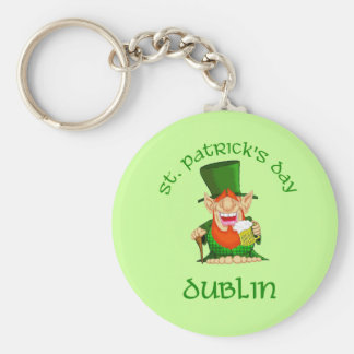 St Patrick's Day ~ Dublin Basic Round Button Key Ring