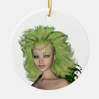 St. Patrick's Day Fairy 1 Double-Sided Ceramic Round Christmas Ornament