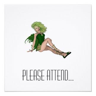 St. Patrick's Day Fairy 4 5.25x5.25 Square Paper Invitation Card