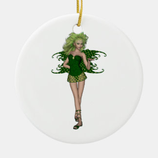 St. Patrick's Day Fairy 5 Round Ceramic Decoration