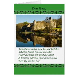 St. Patrick's Day for Mom, Poem, Castle, Shamrocks Card