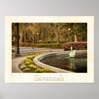 St Patrick's Day - Forsyth Fountain, Savannah, GA Poster