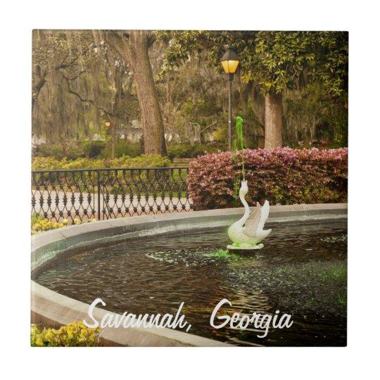 St Patrick's Day - Forsyth Fountain, Savannah, GA Small Square Tile