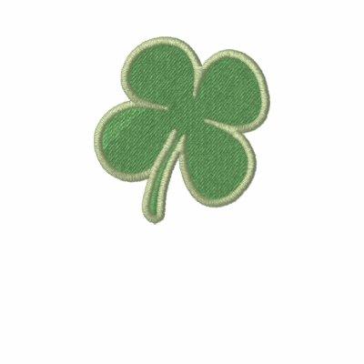 St. Patricks Day  Four Leaf Clover Long Sleeve Polo