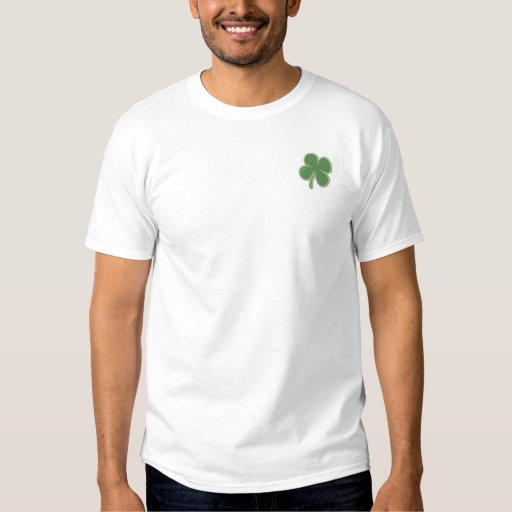 St. Patricks Day  Four Leaf Clover Long Sleeve Embroidered Shirt