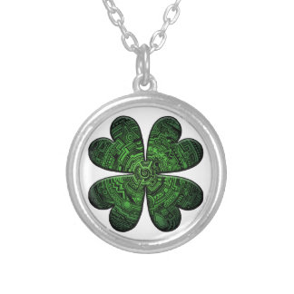 St. Patrick's Day Four Leaf Clover/Shamrock Celtic Silver Plated Necklace