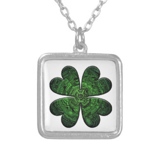 St. Patrick's Day Four Leaf Clover/Shamrock Celtic Square Pendant Necklace