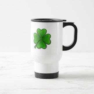 St. Patrick's Day, Four Leaf Clover Stainless Steel Travel Mug