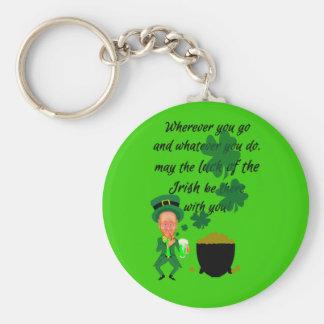 St Patrick's Day Funny Leprechaun Irish Blessing Keychain