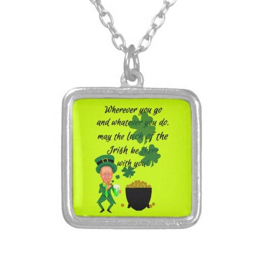 St Patrick's Day Funny Leprechaun Irish Blessing Custom Necklace