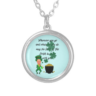 St Patrick's Day Funny Leprechaun Irish Blessing Necklaces