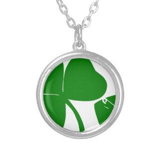St Patrick's Day - Get Lucky 3 + 1 leaves = 4 Round Pendant Necklace