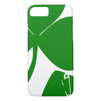 St Patrick's Day Get Lucky 3 leaves and Safety Pin iPhone 7 Case