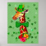 St. Patrick's Day Giraffe Poster