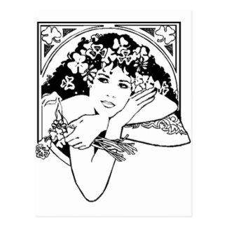 st patricks day girl postcard
