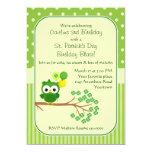 St. Patrick's Day Girl's Birthday Owl 13 Cm X 18 Cm Invitation Card