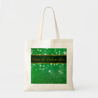 St. Patrick's Day Glitter Clover - Budget Tote