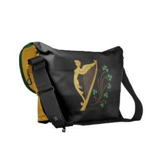 St Patrick's Day Gold Harp and Shamrocks Courier Bag