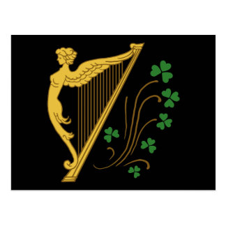 St Patrick's Day Gold Harp and Shamrocks Postcard