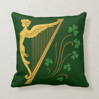 St Patrick's Day Gold Harp and Shamrocks Throw Pillow