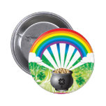 St. Patrick's Day Gold Rainbow Pinback Buttons