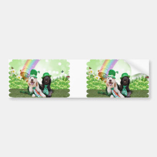St Patricks Day - GoldenDoodles - Sadie and Izzie Bumper Stickers