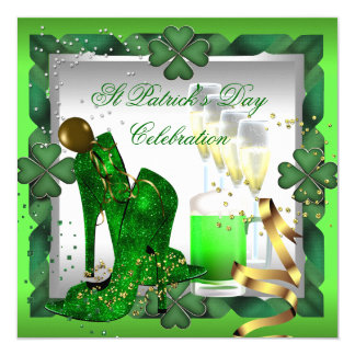 St Patrick's Day Green Beer Gold Irish 13 Cm X 13 Cm Square Invitation Card