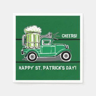 St Patrick's Day Green Beer Vintage Truck Paper Napkin