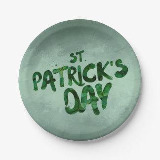 St Patrick's Day Green Clover Irish Celtic Paper Plate