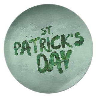 St Patrick's Day Green Clover Irish Celtic Plate