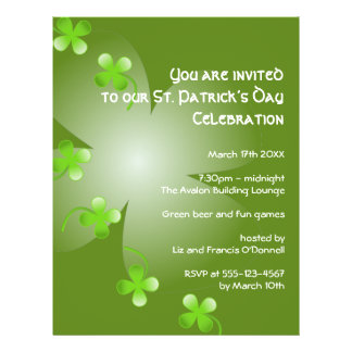 St Patrick's Day green clover party event large 21.5 Cm X 28 Cm Flyer
