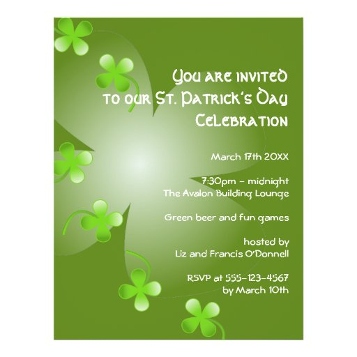 St Patrick's Day green clover party event large Personalized Flyer