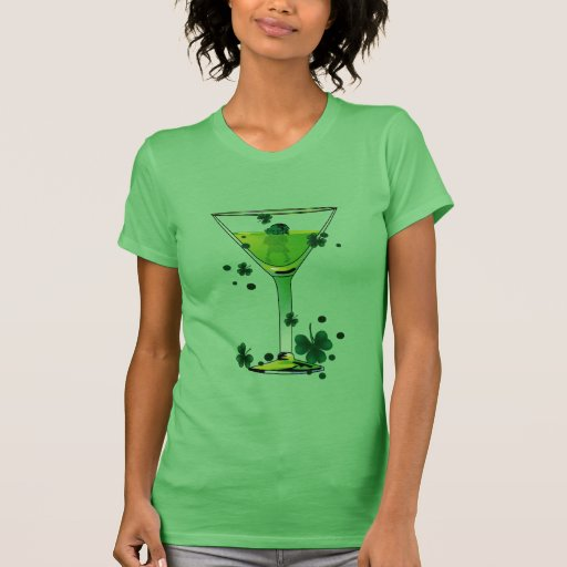 St Patricks Day Green Cocktail & Leprechaun Ladies Shirt