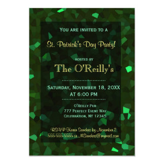 St Patrick's Day | Green Crystals 13 Cm X 18 Cm Invitation Card