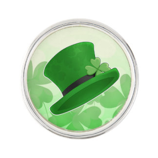 St Patricks Day green hat and shamrocks Lapel Pin