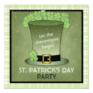 St Patrick's Day Green Hat Party Invitation