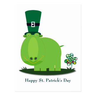 St Patrick's day: Green HIPPO Postcard