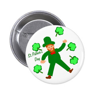St.Patrick's Day, Green Leprechaun Buttons, Badges