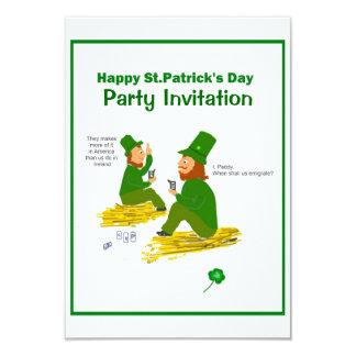 St.Patrick's Day, Green Leprechauns RSVP 9 Cm X 13 Cm Invitation Card