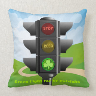ST PATRICKS DAY GREEN LIGHT FOR DRINKING BEER CUSHION