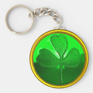 ST PATRICK'S DAY GREEN SHAMROCK GEMSTONE JEWEL BASIC ROUND BUTTON KEY RING
