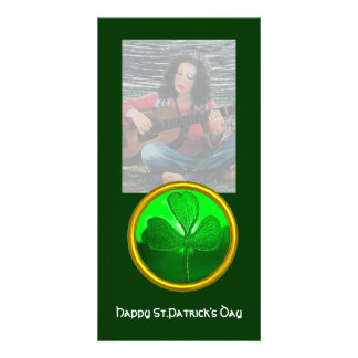 ST PATRICK'S DAY GREEN SHAMROCK GEMSTONE JEWEL CUSTOMISED PHOTO CARD